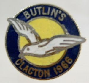 Butlins Holiday Clacton Enamel Pin Badge - Blue, Yellow & White - 1966